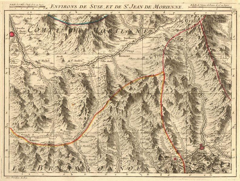 Associate Product SAVOIE/SUSA VALLEY. Maurienne Modane Oulx Bardonecchia. D'ANVILLE 1754 old map