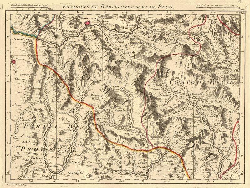 Associate Product ALPES DU SUD. Barcelonnette Beuil Seyne Colmars Allos Isola. D'ANVILLE 1754 map