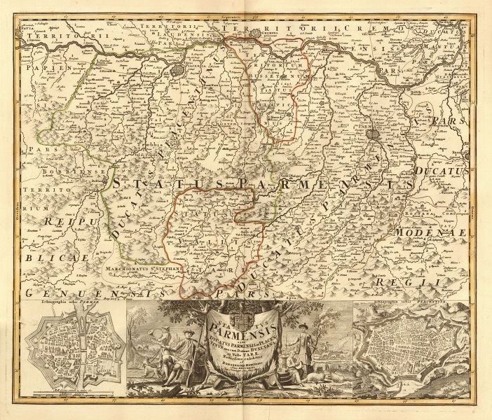 Associate Product 'Status Parmensis'. Duchy of Parma & Piacenza. Town plans. HOMANN 1731 old map