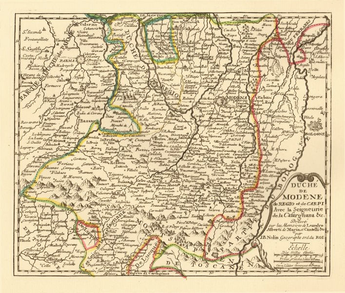 Associate Product 'Duché de Modene de Regio et de Carpi' Duchy of Modena & Reggio. NOLIN c1725 map