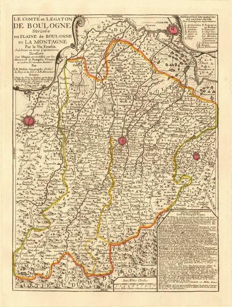 Associate Product 'Le Comté et Legaton de Boulogne'. Bologna Modena Imola Ferrara. NOLIN c1730 map