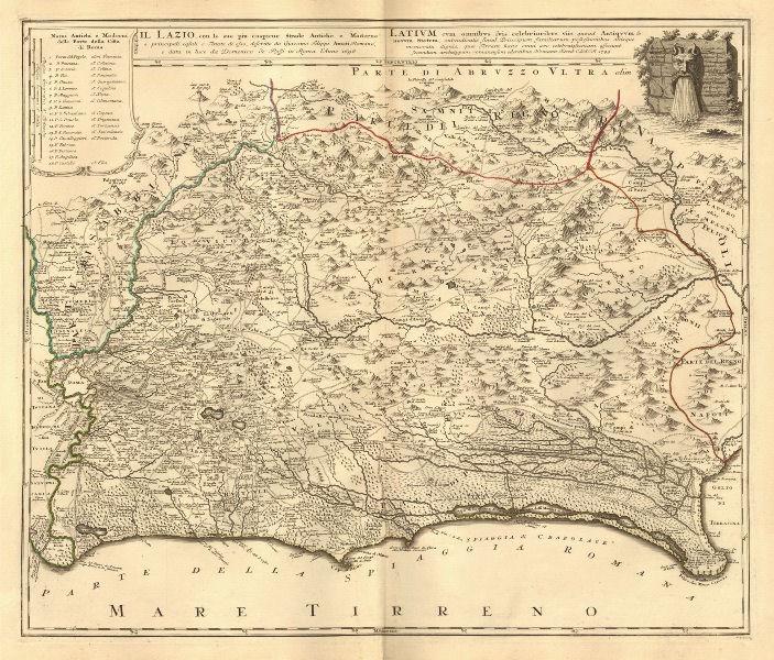 Associate Product Il Lazio con le sue piu cospicue strade antiche e moderne.Latium.HOMANN 1745 map
