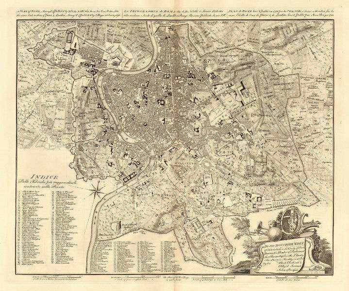 Associate Product Plan of Rome / Topographia di Roma. ROCQUE, from NOLLI's earlier map 1750