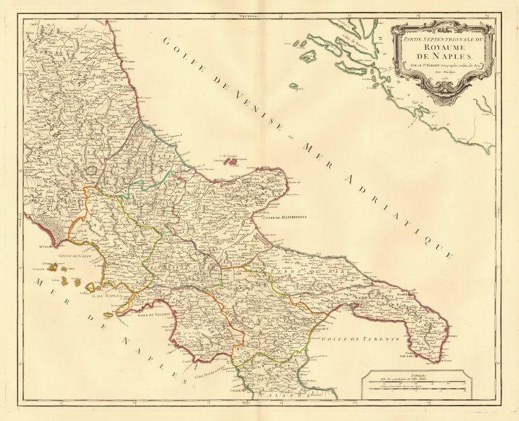 Associate Product 'Partie septentrionale du Royaume de Naples'. Southern Italy. VAUGONDY 1750 map