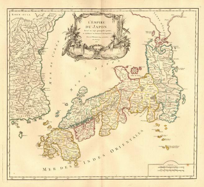 Empire du Japon divisée en sept principales parties. Japan. DE VAUGONDY 1750 map