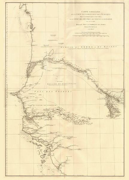 Associate Product Côte occidentale de l'Afrique. W Africa.Senegal Gambia rivers.D'ANVILLE 1751 map