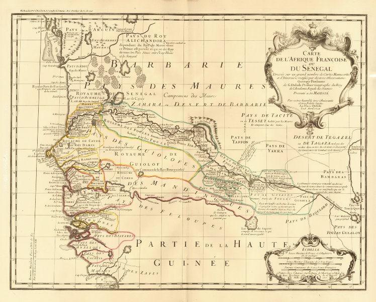 Associate Product 'L'Afrique Françoise ou du Senegal'. French West Africa. DE L'ISLE 1727 map