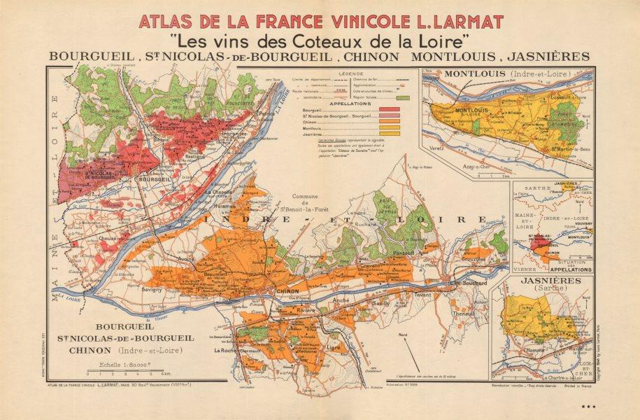 Associate Product LOIRE VINEYARD MAP St Nicholas Bourgueil Chinon Montlouis Jasnières. LARMAT 1946