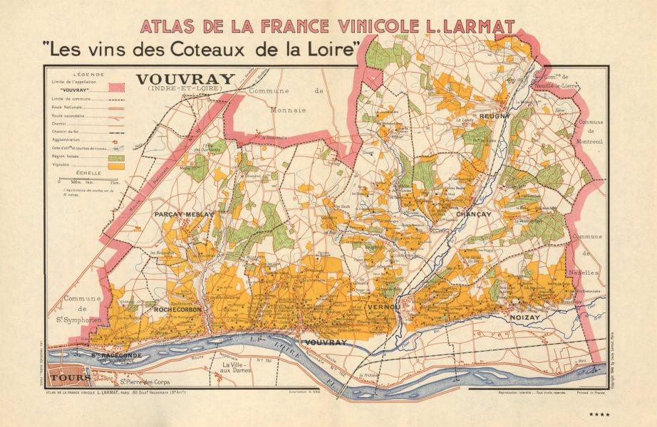 Associate Product LOIRE VINEYARD WINE MAP Vouvray. Noizay Vernou Reugny Chançay Parçay LARMAT 1946