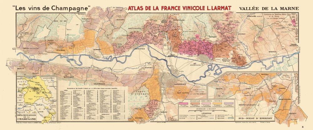 Associate Product CHAMPAGNE VINEYARD MAP Vallée de la Marne. Ay Mareuil Dizy-Magenta. LARMAT 1944