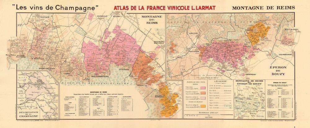 Associate Product CHAMPAGNE VINEYARD MAP Montagne de Reims. Éperon de Bouzy. Mailly. LARMAT 1944