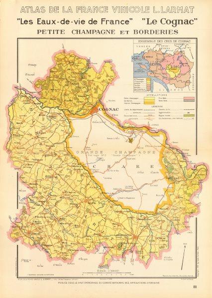Associate Product COGNAC BRANDY MAP Petite Champagne et Borderies. Charente Maritime. LARMAT 1947