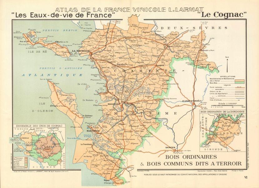 Associate Product COGNAC BRANDY MAP Bois Ordinaires Bois à terroirs Ile de Ré/Oleron. LARMAT 1947