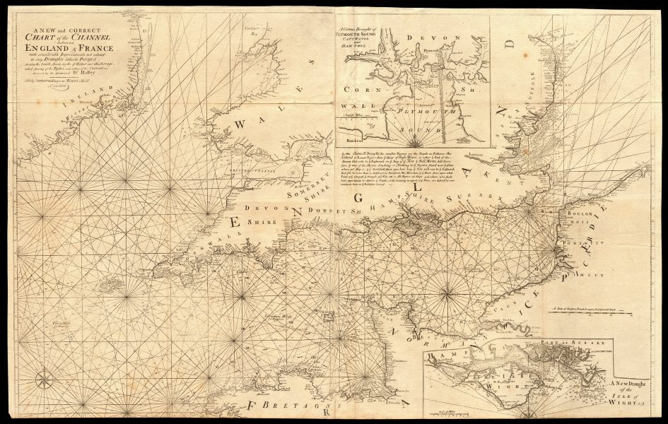 Associate Product A new & correct chart of the Channel between England & France. COLLINS c1774 map