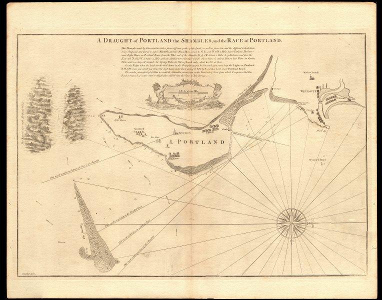 Associate Product 'PORTLAND, the Shambles & the Race of Portland' chart.Weymouth.COLLINS c1774 map
