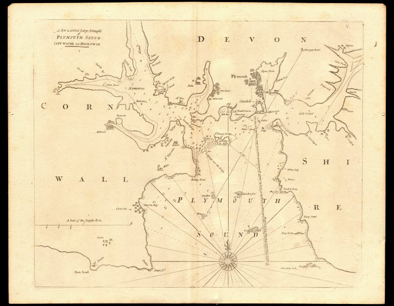 Associate Product PLYMOUTH SOUND, Cattewater & Hamoaze sea chart by Capt G. COLLINS c1774 map