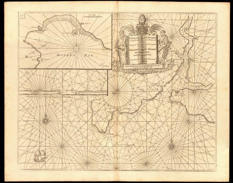 'FOWEY & MOUNTS BAY' sea chart. Polruan Bodinnick Penzance. COLLINS c1774 map