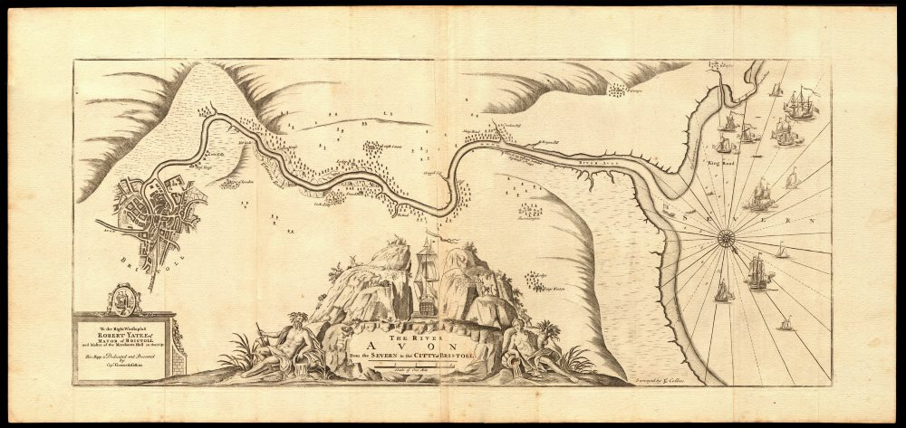 Associate Product 'The River Avon from the Severn to the Citty of Bristoll'. COLLINS c1774 map