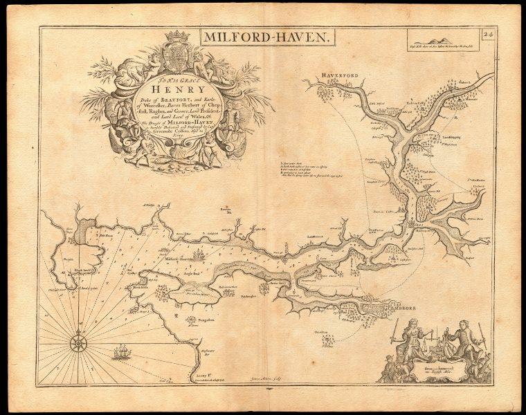 'Milford Haven' sea chart. Haverfordwest Pembroke Daugleddau. COLLINS c1774 map