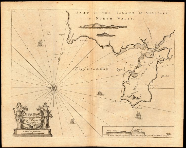 Associate Product 'Holy-Head' sea chart. Holy Island & HOLYHEAD, Anglesey. Capt. COLLINS c1774 map