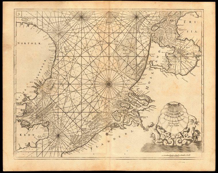 NORTH SEA coast chart. East Anglia Kent Holland Flanders. COLLINS c1774 map