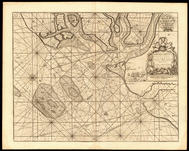 Associate Product HARWICH, Orwell, Stour, Deben & Hamford Water sea chart. COLLINS c1774 old map