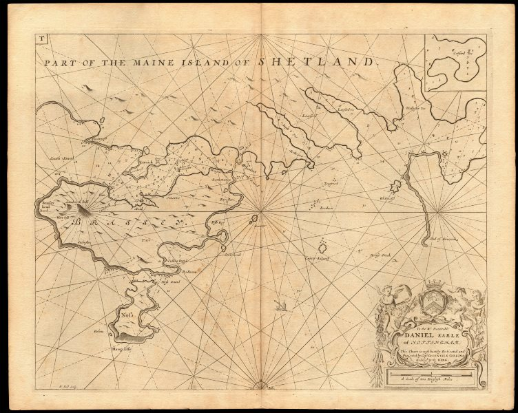 Associate Product 'Part of the Maine Island of Shetland' sea chart. Lerwick. COLLINS c1774 map