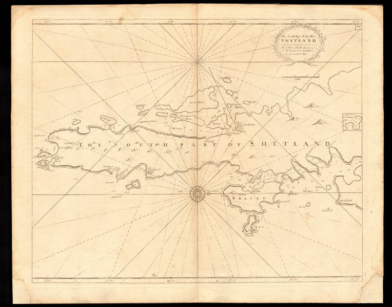 Associate Product 'The South Part of the isles of Shetland' sea chart. Lerwick. COLLINS c1774 map