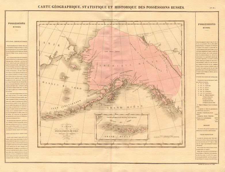 Associate Product 'Possessions russes'. Russian America (Alaska). BUCHON 1825 old antique map