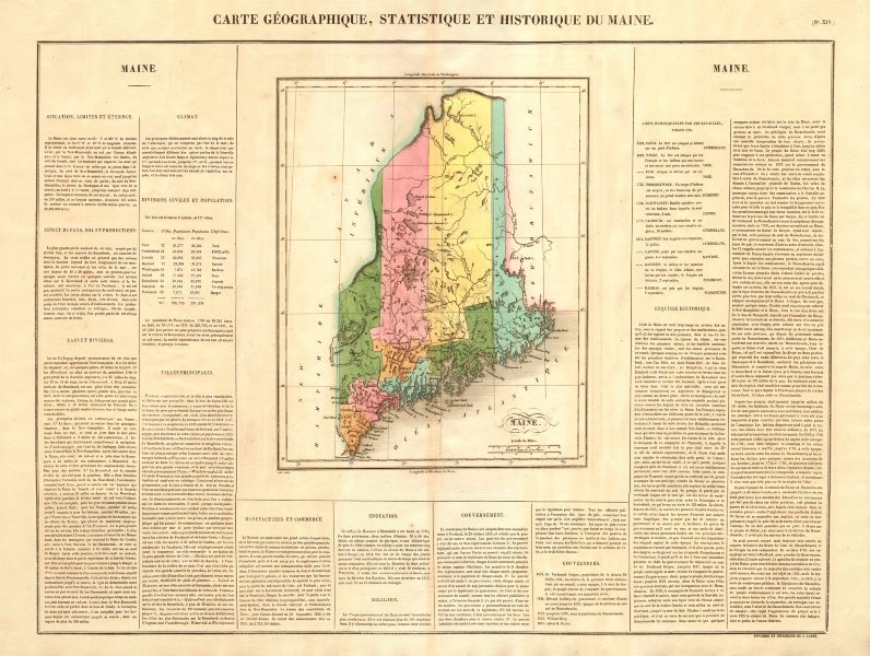 Associate Product Maine state map. Claimed borders < 1842 Webster-Ashburton Treaty. BUCHON 1825