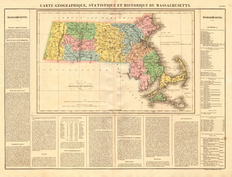 Associate Product Massachusetts antique state map. Includes Boston Corner. Counties. BUCHON 1825