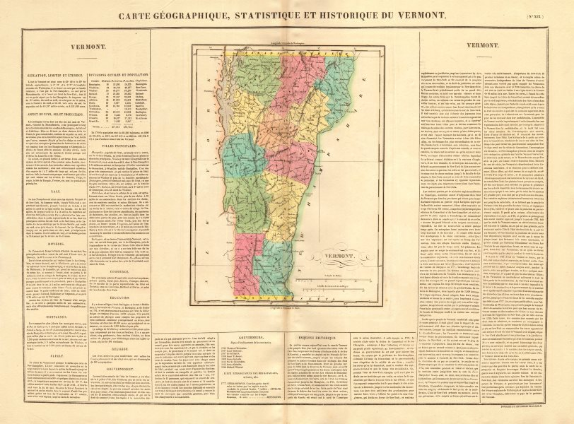 Associate Product Vermont antique state map. Counties. BUCHON 1825 old plan chart