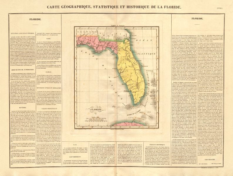 'Floride'. Florida Territory, prior to statehood. BUCHON 1825 old antique map
