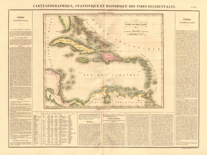 Associate Product 'Indes Occidentales'. West Indies. Caribbean. Gran Colombia. BUCHON 1825 map