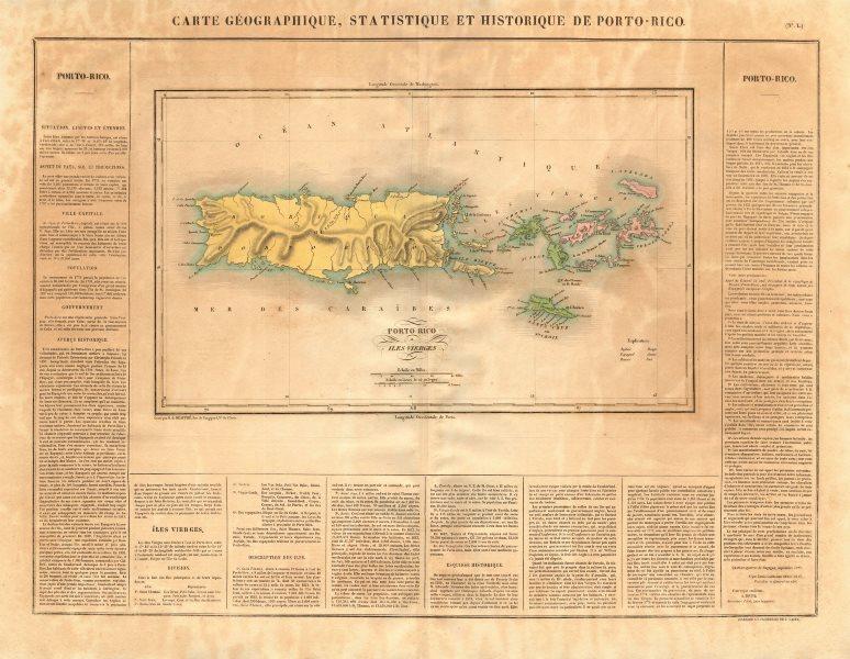 Associate Product 'Porto-Rico et des Iles-Vierges'. Puerto Rico & Virgin Islands. BUCHON 1825 map