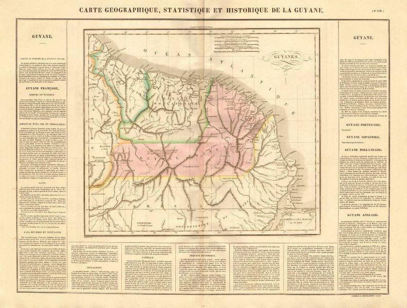 Associate Product 'Guyane française, hollandaise et anglaise'. Guiane Suriname. BUCHON 1825 map