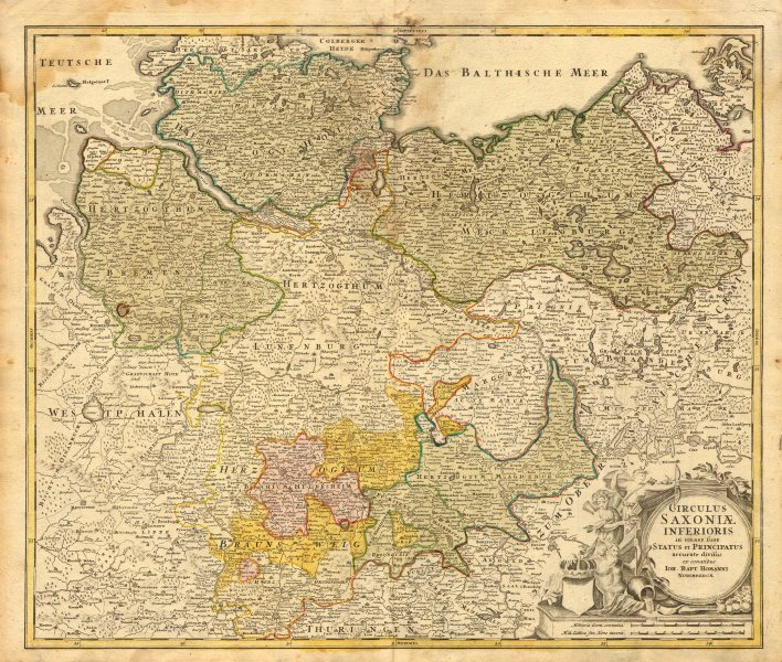 Associate Product 'Circulus Saxoniae Inferioris' Johann Baptist HOMANN. Northern Germany c1730 map