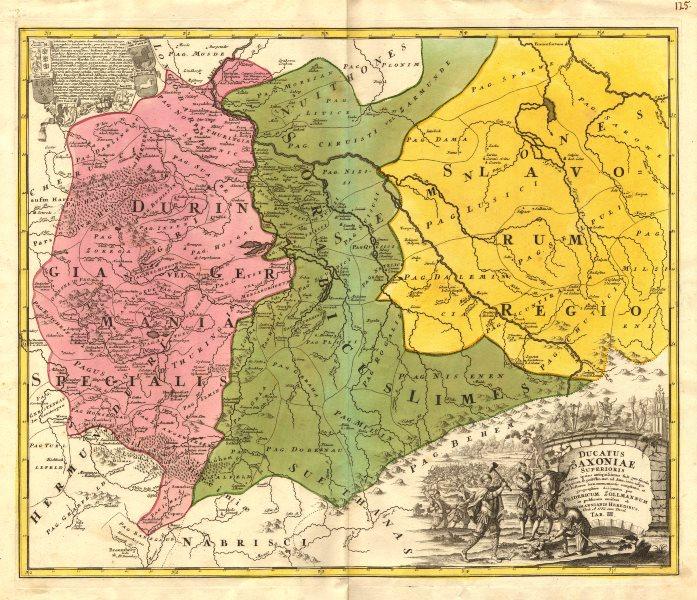 Associate Product 'Ducatus Saxoniae Superioris'. Ancient Upper Saxony. ZOLLMANN/HOMANN c1735 map