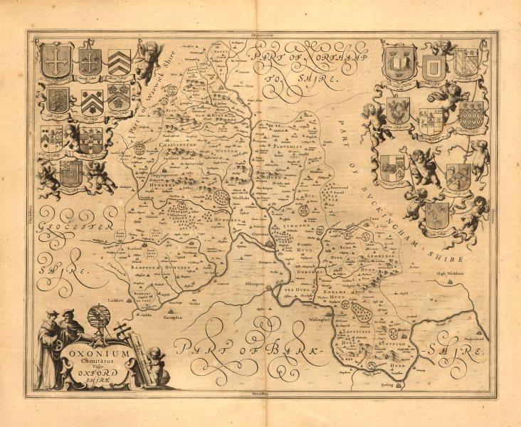 'Oxonium comitatus vulgo Oxfordshire'. Antique map by JANSSONIUS 1646 old