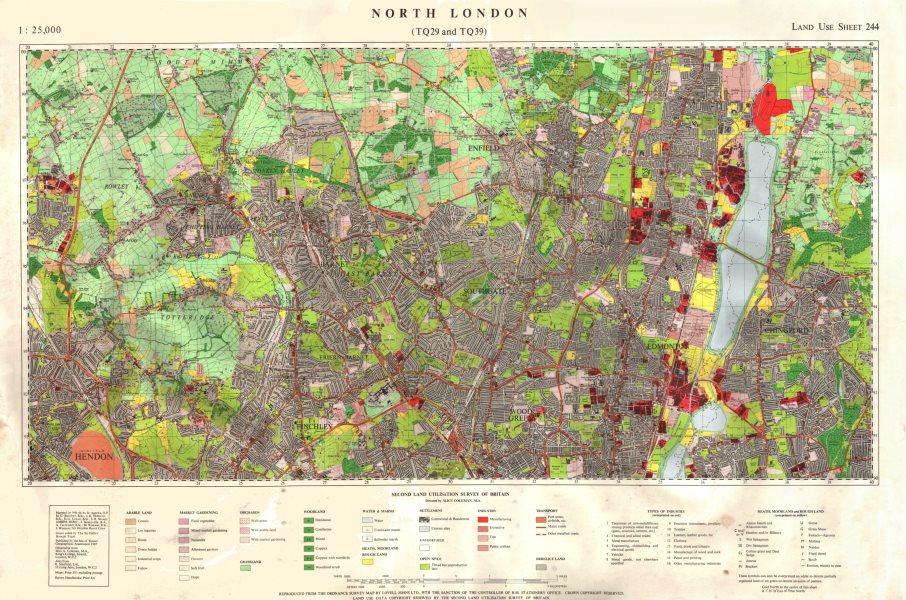 Associate Product North London (TQ29 & TQ39) Land Use Survey Sheet 244. 85x55cm 1967 old map