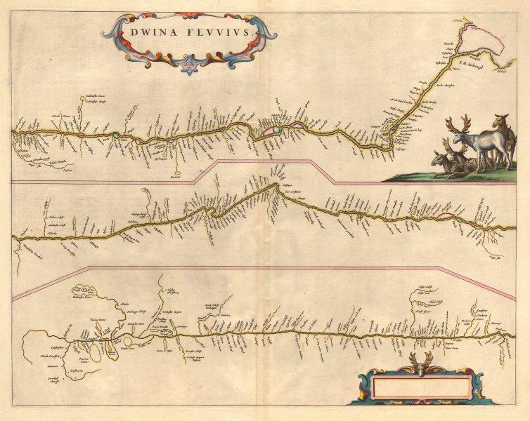 Associate Product 'Dwina Fluvius'. Northern Dvina River, Russia. Archangel. BLAEU c1660 old map