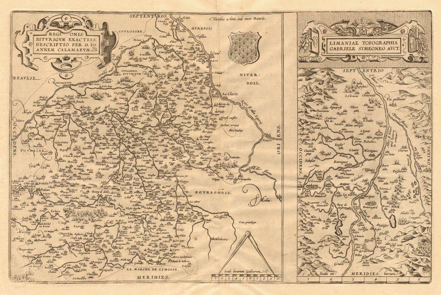 Associate Product 'Regionis Biturigum' & 'Limaniae Topographia'. Berry/Auvergne. ORTELIUS 1570 map
