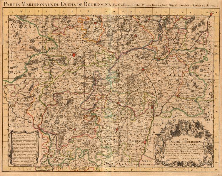 Associate Product 'Partie Meridionale du Duché de Bourgogne'. COVENS & MORTIER/DE L'ISLE c1730 map