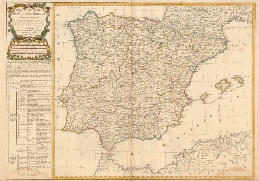 'Carte des Royaumes d'Espagne et de Portugal…' DELAMARCHE. Iberia Spain 1780 map