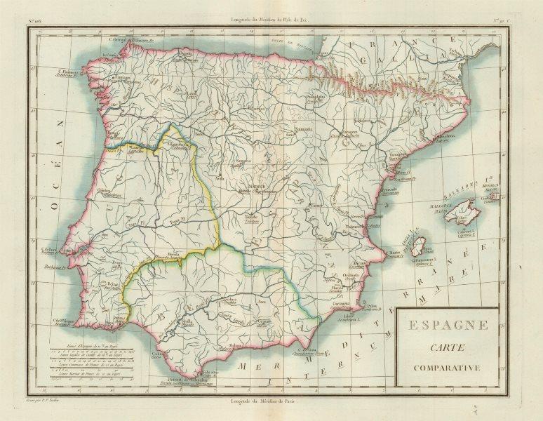 Associate Product 'Espagne Carte Comparative'. Mentelle/Chanlaire. Roman & Modern Iberia c1798 map