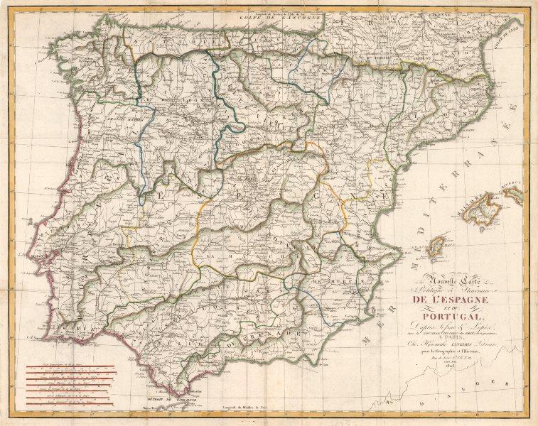 Associate Product Nouvelle Carte Politique & Itineraire de L'Espagne & Portugal. LANGLOIS 1823 map