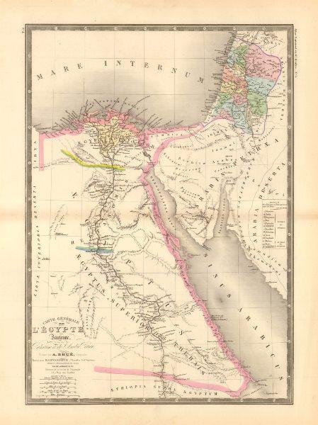 Associate Product 'Égypte Ancienne de la Palestine et de l'Arabie Petrée'. Brué. Egypt 1875 map