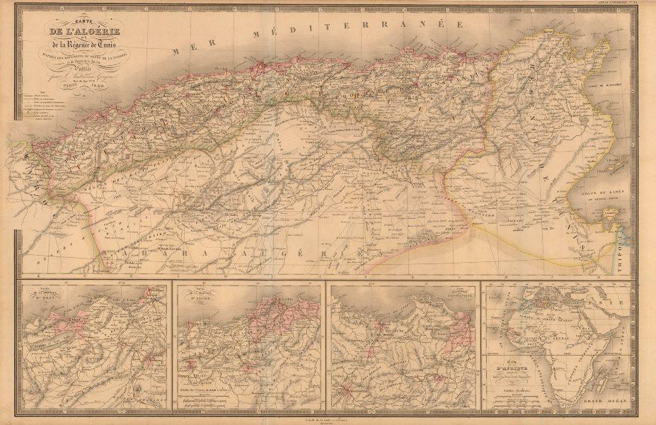 'Carte de L'Algérie et de la Régence de Tunis' ANDRIVEAU-GOUJON Algeria 1850 map