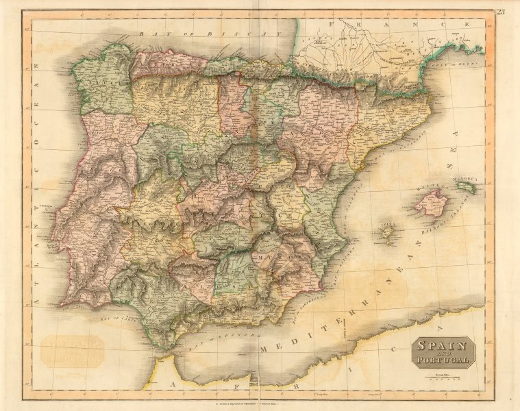 """Associate Product """"Spain and Portugal"""" by John Thomson. Provinces. Iberia c1817 old antique map"""
