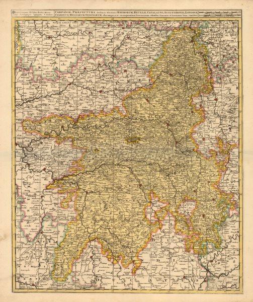 Associate Product 'Campaniae Praefectura divisum in Electiones'. VALCK. Champagne region c1705 map